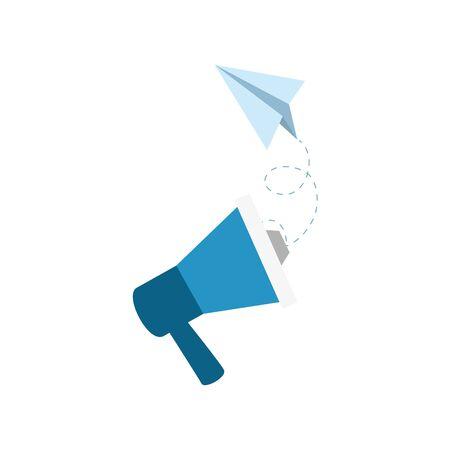 Illustration for Megaphone and paperplane design, Amplifer speaker bullhorn announce speech message communication and sound theme Vector illustration - Royalty Free Image
