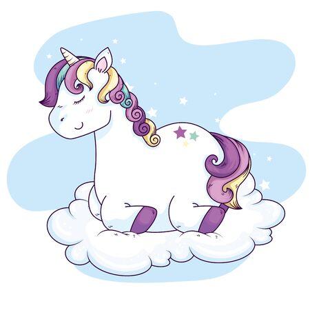 Illustration for cute unicorn fantasy in cloud vector illustration design - Royalty Free Image