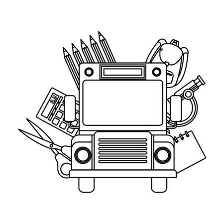 Illustration pour school bus transport with education icons vector illustration design - image libre de droit