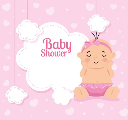 Illustration for baby shower card with baby girl and decoration vector illustration design - Royalty Free Image