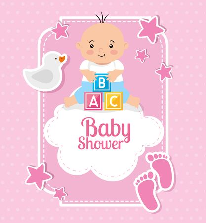 Illustration for baby shower card with baby and decoration vector illustration design - Royalty Free Image