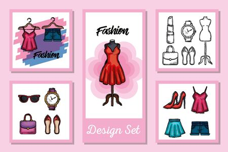Foto per Female fashion cloth set design, Style wear store shop retail fabric and made theme Vector illustration - Immagine Royalty Free