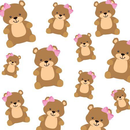 Illustration pour background of cute teddy bears female vector illustration design - image libre de droit