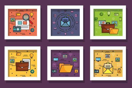 Illustration pour bundle designs of business icons vector illustration design - image libre de droit