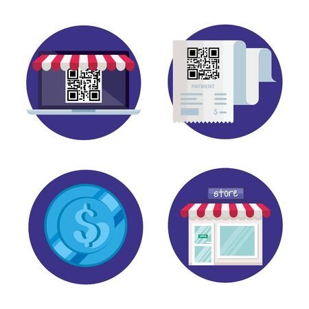 Illustration for qr code paper laptop store and coin design of technology scan information business price communication barcode digital and data theme Vector illustration - Royalty Free Image