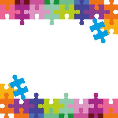 Illustration pour frame of puzzle pieces icons vector illustration design - image libre de droit