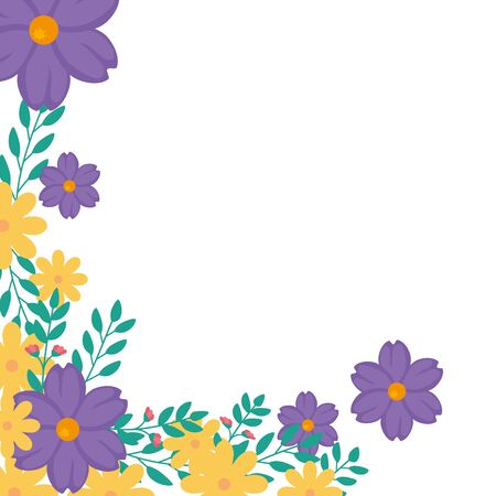 Illustration pour Frame of flowers yellow and purple with leafs  vector illustration design - image libre de droit