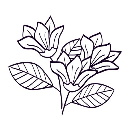Illustration pour Flower with branches and leafs line style on white - image libre de droit