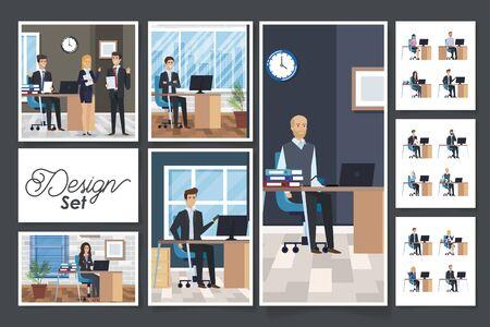 Illustration pour bundle of group business people in the workplace vector illustration design - image libre de droit