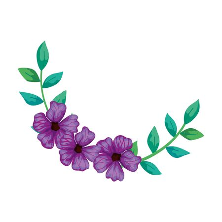 Illustration pour cute flowers purple with branches and leafs isolated icon vector illustration design - image libre de droit