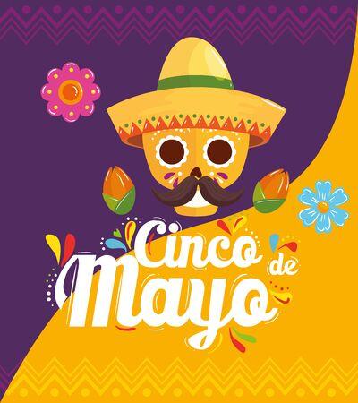 Illustration pour cinco de mayo poster with skull and decoration vector illustration design - image libre de droit
