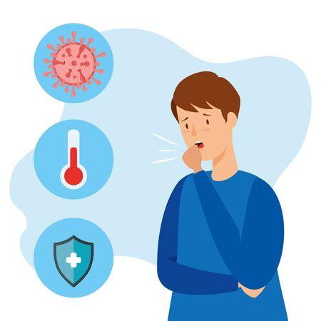 Illustration pour man sick of coronavirus 2019 ncov with set icons vector illustration design - image libre de droit