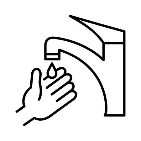 cleaning hand washing, line style icon vector illustration design