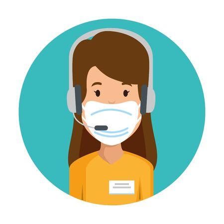 Vektor für woman agent call center with face mask vector illustration design - Lizenzfreies Bild