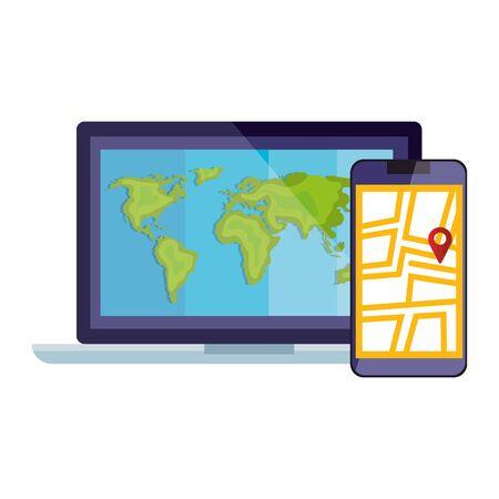 Illustration pour smartphone with map location app and laptop vector illustration design - image libre de droit