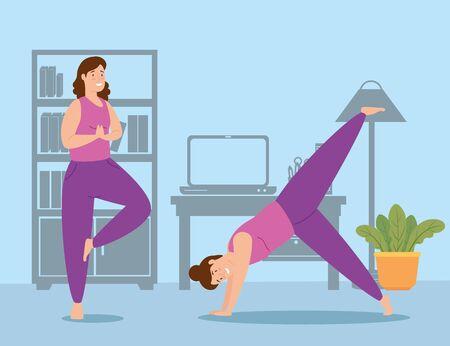 women exercising in the house scene vector illustration design
