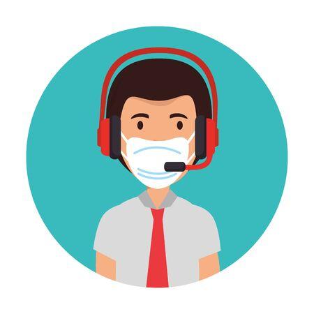 Vektor für man agent call center with face mask vector illustration design - Lizenzfreies Bild