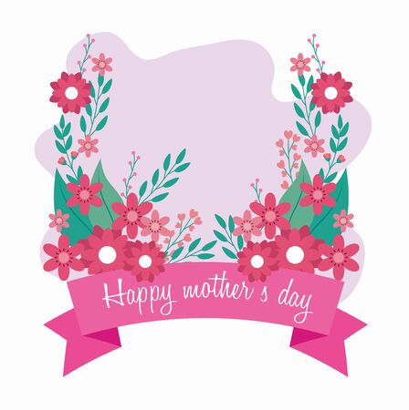 Illustration pour happy mother day card with flowers and ribbon decoration vector illustration design - image libre de droit
