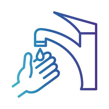 cleaning hand washing, gradient line style icon vector illustration design