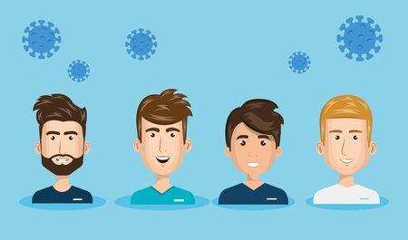 Illustration pour group paramedics with particles covid 19 vector illustration design - image libre de droit