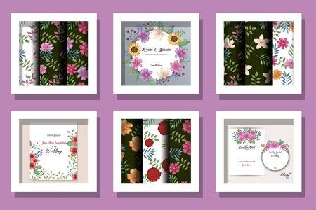 Illustration pour bundle of cards invitation with flowers decoration vector illustration design - image libre de droit