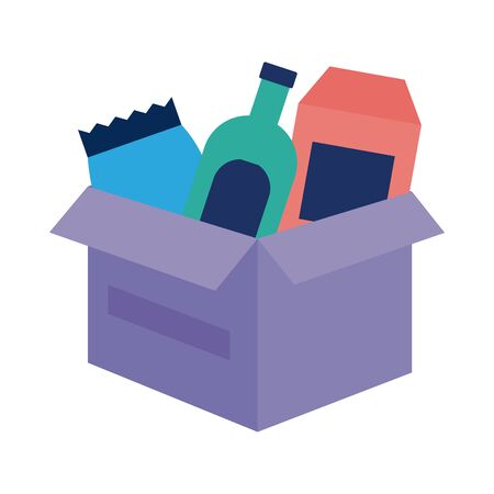 Illustration pour donations urn with groceries solidarity flat style illustration design - image libre de droit