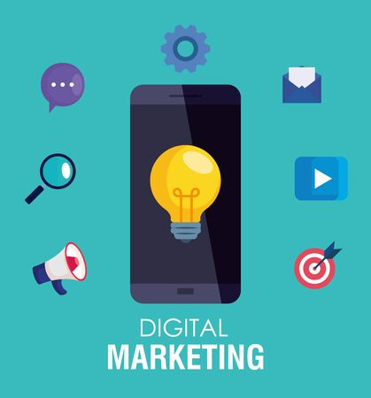 Illustration for smartphone and light bulb with icon set design, Digital marketing and ecommerce theme Vector illustration - Royalty Free Image