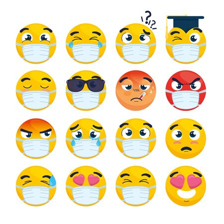 Illustration for set of emoji wearing medical mask, yellow faces with a white surgical mask, icons for covid 19 coronavirus outbreak vector illustration design - Royalty Free Image