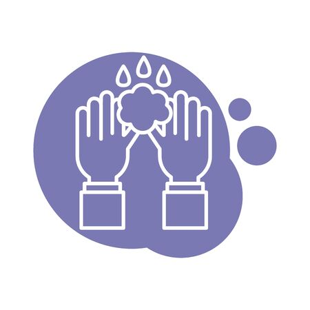 hands washing block style icon vector illustration design