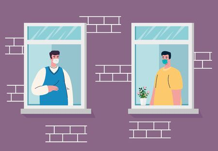 Illustration for stay home, house facade with window, men look out of home, self isolation, quarantine due of coronavirus, covid 19 - Royalty Free Image
