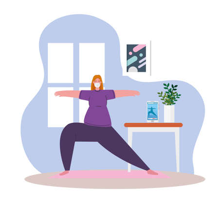 Illustration pour woman exercising at home, stay at home, healthy lifestyle indoor, prevention covid 19 vector illustration design - image libre de droit