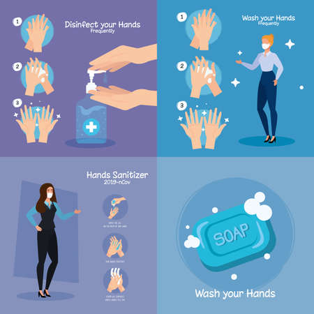 Illustration pour Businesswomen with masks and hands sanitizer and washing steps design, Disinfects clean antibacterial and hygiene theme Vector illustration - image libre de droit