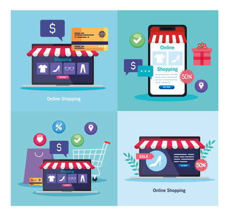 Illustration for laptops and smartphone with tent and credit card design of Shopping online ecommerce market retail and buy theme Vector illustration - Royalty Free Image