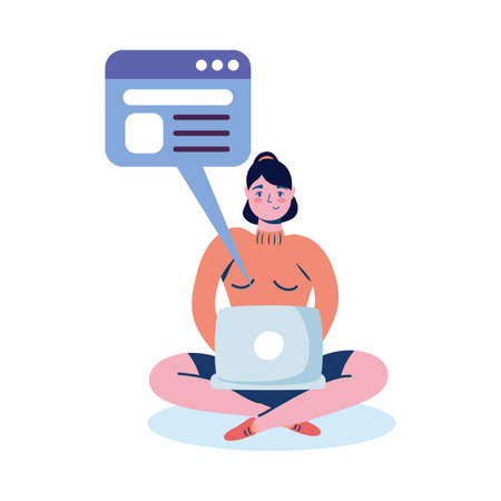 Illustration for Woman with laptop and website bubble design, Digital technology and communication theme Vector illustration - Royalty Free Image
