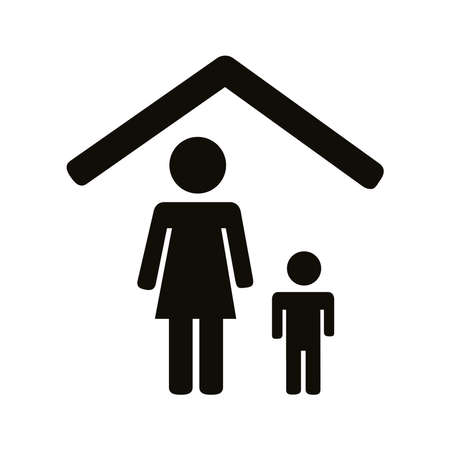 Illustration pour mother and son stay at home silhouette style icon vector illustration design - image libre de droit