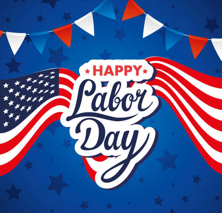 Illustration pour happy labor day holiday banner with united states national flag and garlands hanging vector illustration design - image libre de droit
