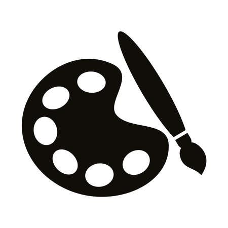 Illustration pour paint brush with palette tool silhouette style icon vector illustration design - image libre de droit