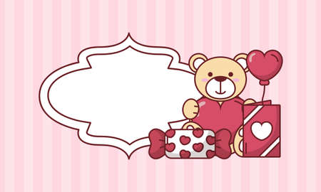 Illustration pour Teddy bear with heart balloon and candy design of Valentines day love and passion theme Vector illustration - image libre de droit