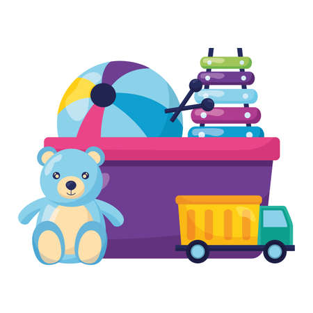 Illustration for bear xylophone truck ball kids toys vector illustration - Royalty Free Image