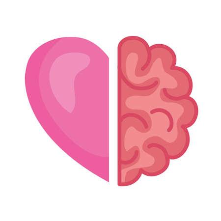 Ilustración de half brain and heart, conflict between emotions and rational thinking vector illustration design - Imagen libre de derechos