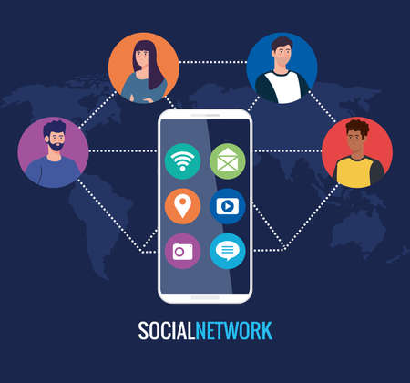 Illustration for social network, people with smartphone, connected for digital, interactive, communication and global concept vector illustration design - Royalty Free Image