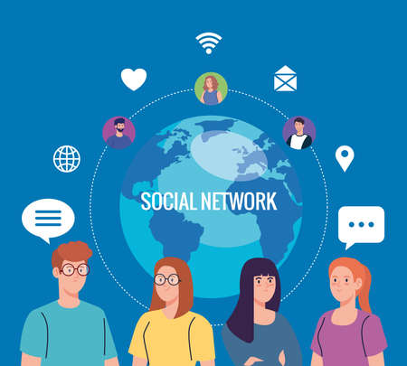 Illustration pour young people and social network community, interactive, communication and global concept vector illustration design - image libre de droit