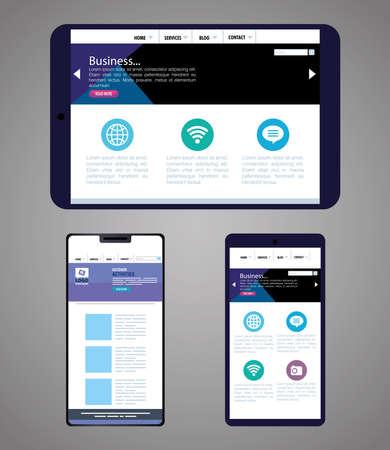 Illustration for mockup responsive web, concept website development in tablet device and smartphones vector illustration design - Royalty Free Image