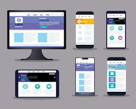 Illustration pour mockup responsive web, concept website development on electronics devices vector illustration design - image libre de droit