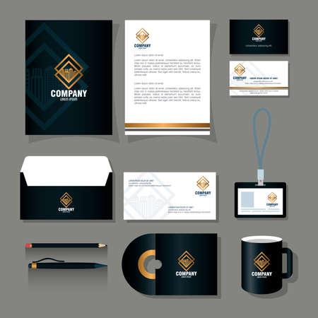 Illustration pour corporate identity brand mockup, stationery supplies black color with golden sign vector illustration design - image libre de droit