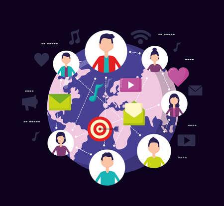 Illustration pour people world mobile message social media vector illustration - image libre de droit