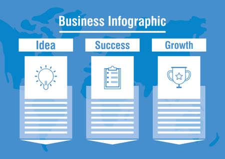 Illustration pour business infographic with world planet vector illustration - image libre de droit
