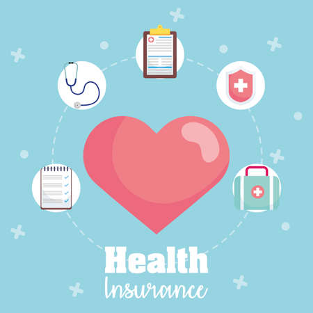 Illustration for health insurance service with heart cardio vector illustration design - Royalty Free Image