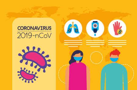 Illustration pour covid19 pandemic infographics with couple using face masks vector illustration design - image libre de droit