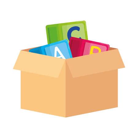 Illustration pour alphabet cubes with letters a, b, c, on box carton, in white background vector illustration design - image libre de droit